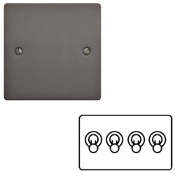 4 Gang 2 Way 20A Dolly Switch in Matt Bronze Flat Plate and Toggle, Elite Flat Plate