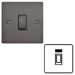 1 Gang 20A Double Pole Switch with Neon Matt Bronze Plate and Black Plastic Rocker and Trim