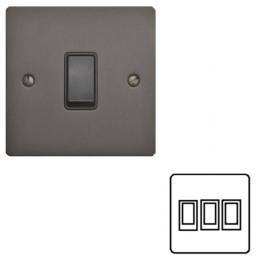 3 Gang 2 Way 10A Rocker Switch in Matt Bronze Plate and Black Plastic Rocker and Trim