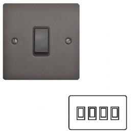 4 Gang 2 Way 10A Rocker Switch in Matt Bronze Plate and Black Plastic Rocker and Trim