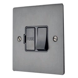 1 Gang 13A Switched Fused Spur in Matt Bronze Flat Plate and Black Plastic Rocker and Trim