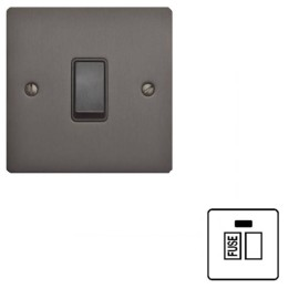 1 Gang 13A Switched Fused Spur with Neon in Matt Bronze Flat Plate and Black Plastic Rocker and Trim