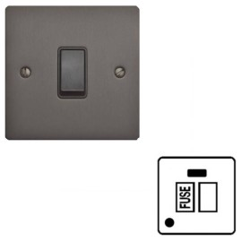 1 Gang 13A Switched Fused Spur with Neon and Cord Outlet in Matt Bronze Flat Plate and Black Plastic Rocker and Trim