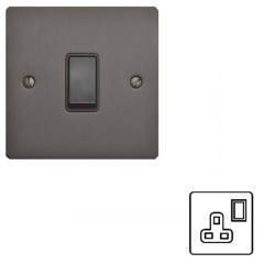 1 Gang 13A Switched Single Socket in Matt Bronze Flat Plate and Rocker Switch with Black Trim