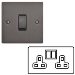 2 Gang 13A Switched Double Socket in a Matt Bronze Flat Plate with Switch with Black Plastic Trim