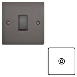 1 Gang TV/Coaxial Non Isolated Socket in Matt Bronze Elite Flat Plate with Black Trim