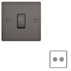 2 Gang Satellite/TV Socket Matt Bronze Elite Flat Plate with Black Plastic Trim