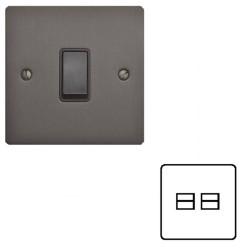 2 Gang Secondary Telephone Socket in Matt Bronze Elite Flat Plate with Black Trim, Elite Flat Plate