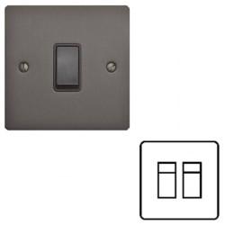 2 Gang RJ45 Single Data Socket in a Matt Bronze Flat Plate with Black Trim, Elite Flat Plate