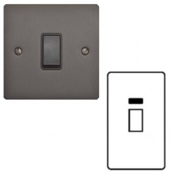 45A Red Rocker Cooker Switch with Neon (Twin Plate) Matt Bronze Elite Flat Plate with Black Trim