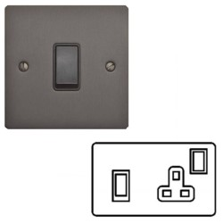 45A Red Rocker Cooker Switch with 13A Switched Socket and Neon Matt Bronze Elite Flat Plate with Black Plastic Rocker Switch and Trim