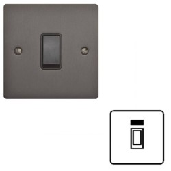 45A Red Rocker Cooker Switch (Single Plate) with Neon Matt Bronze Elite Flat Plate with Black Trim
