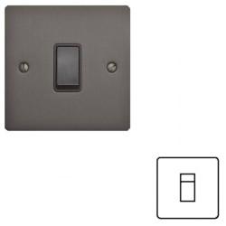 1 Gang RJ45 Single Data Socket in a Matt Bronze Flat Plate with Black Trim, Elite Flat Plate
