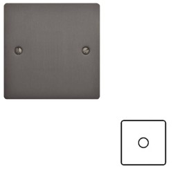 1 Gang 2 Way 400W Push On/Off Single Dimmer in a Matt Bronze Elite Flat Plate and Dimmer Knob