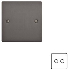 2 Gang 2 Way 400W Push On/Off Double Dimmer in a Matt Bronze Elite Flat Plate and Dimmer Knobs