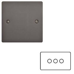 3 Gang 2 Way 400W Push On/Off Triple Dimmer in a Matt Bronze Elite Flat Plate and Dimmer Knobs