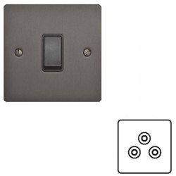 1 Gang 5A 3 Pin Unswitched Single Socket in Matt Bronze with Black Insert Elite Flat Plate