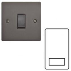 1 Gang Shaver Socket Dual Voltage Output 110/240V in a Matt Bronze Elite Flat Plate with Black Trim