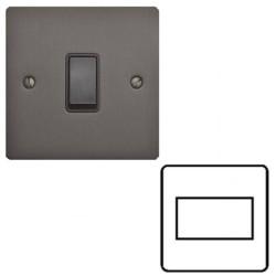 1 Gang 6A Triple Pole Fan Isolator Switch in a Matt Bronze Elite Flat Plate with Black Switch and Trim