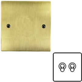 2 Gang 2 Way 20A Dolly Switch in Antique Brass Flat Plate and Toggle, Elite Flat Plate