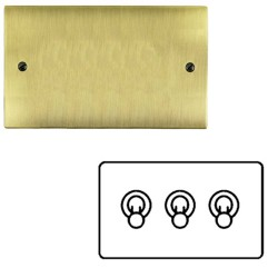 3 Gang 2 Way 20A Dolly Switch in Antique Brass Flat Plate and Toggle, Elite Flat Plate