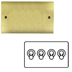 4 Gang 2 Way 20A Dolly Switch in Antique Brass Flat Plate and Toggle, Elite Flat Plate