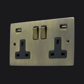 2 Gang 13A Socket with 2 USB Socket Chargers Antique Brass Elite Flat Plate with Black Trim