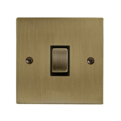 1 Gang 20A Double Pole Rocker Switch in Antique Brass Elite Flat Plate and Switch with Black Trim