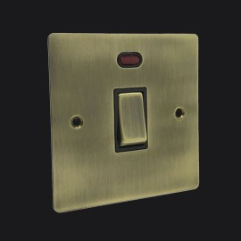 1 Gang 20A Double Pole Switch with Neon in Antique Brass Elite Flat Plate and Switch with Black Trim