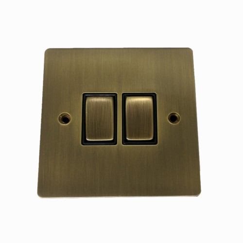 2 Gang 2 Way 10A Rocker Switch in Antique Brass Elite Flat Plate and Switch with Black Trim