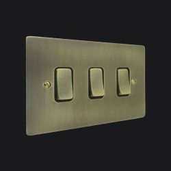 3 Gang 2 Way 10A Rocker Switch in Antique Brass Elite Flat Plate and Switch with Black Trim