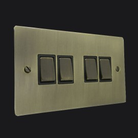 4 Gang 2 Way 10A Rocker Switch in Antique Brass Elite Flat Plate and Switch with Black Trim