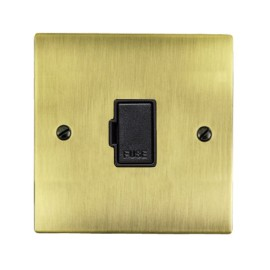 1 Gang 13A Unswitched Fused Spur in Antique Brass Elite Flat Plate with Black Trim