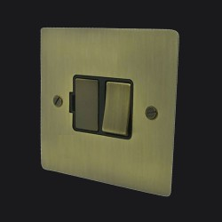 1 Gang 13A Switched Fused Spur in Antique Brass Elite Flat Plate and Switch with Black Trim