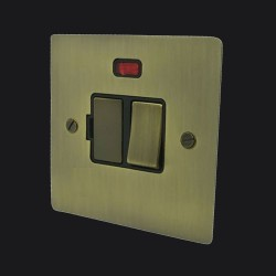 1 Gang 13A Switched Fused Spur with Neon in Antique Brass Elite Flat Plate and Switch with Black Trim