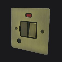 1 Gang 13A Switched Fused Spur With Neon and Cord in Antique Brass Elite Flat Plate and Switch with Black Trim