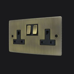 2 Gang 13A Switched Twin Socket in Antique Brass Elite Flat Plate and Switch with Black Trim