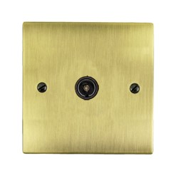 1 Gang TV/Coaxial Non Isolated Socket in Antique Brass Elite Flat Plate with Black Trim