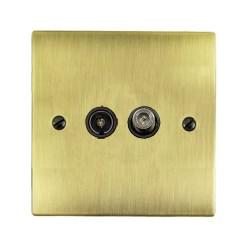 1 Gang Satellite/TV Socket in Antique Brass Flat Plate with Black Trim, Elite Flat Plate