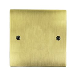 1 Gang Single Section Blank Plate in Antique Brass Flat Plate, Elite Flat Plate
