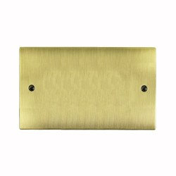 2 Gang Double Section Blank Plate in Antique Brass Flat Plate, Elite Flat Plate