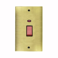 1 Gang 45A Red Rocker Cooker Switch with Neon (Twin Plate) in Antique Brass Elite Flat Plate with Black Trim