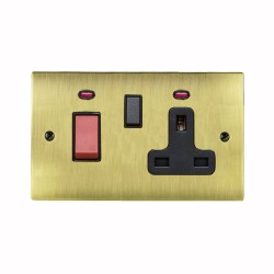 2 Gang 45A Cooker Unit with 13A Switched Socket and Neon in Antique Brass Elite Black Trim Elite Flat Plate