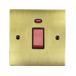 1 Gang 45A Red Rocker Cooker Switch (Single Plate) with Neon in Antique Brass Elite Flat Plate and Switch with Black Trim