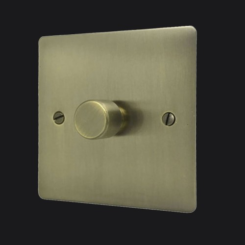 1 Gang 2 Way Trailing Edge LED Dimmer 10-120W Antique Brass Elite Flat Plate and Knob