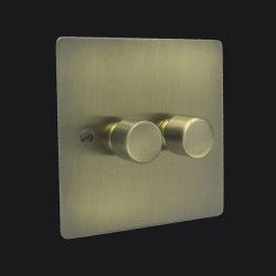 2 Gang 2 Way Trailing Edge LED Dimmer 10-120W Antique Brass Elite Flat Plate and Knob