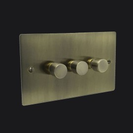 3 Gang 2 Way Trailing Edge LED Dimmer 10-120W Antique Brass Elite Flat Plate and Knob