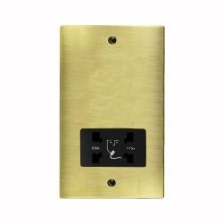 Shaver Socket Dual Voltage Output 110/240V in Antique Brass Elite Flat Plate with Black Trim