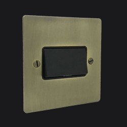 1 Gang 6A Triple Pole Fan Isolator Switch in Antique Brass Elite Flat Plate with Black Trim and Switch