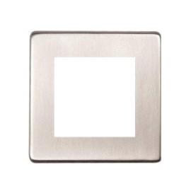 1 Gang 2 Module Euro Plate in Satin Nickel Screwless Flat Plate Heritage Brass PL.Y05.2692.G